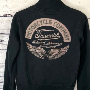 Triumph Motorcycle Full Zip Heavy Sweatshirt SizeS